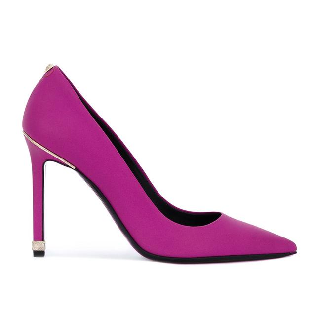 Purple genuine leather simple women fashion high heels shoes lady party wear heels