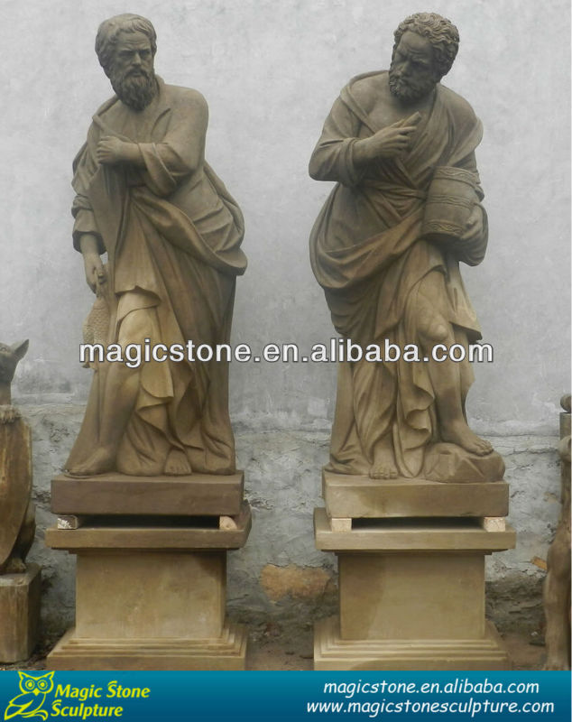 natural marble old man statues