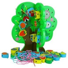 Green fruit tree stringing beads game building block children stringing beads toy,Education wooden stringing beads game for kids