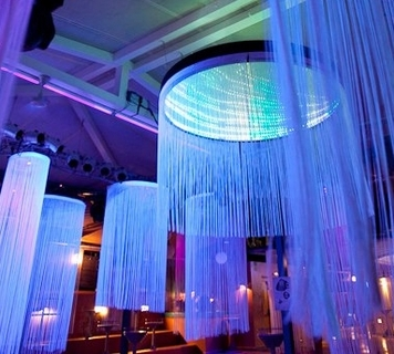 Extra long spaghetti string curtain for event backdrop