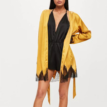 lady new yellow looks like sleep clothing satin lace insert robe dress coat