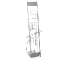 floor standing magazine brochure book display stand spinning mesh pocket rotatable rack