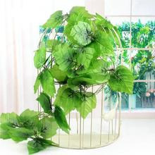 12pcs 240cm / 7.5 ft Long Artificial Plants Green Ivy Leaves Artificial Grape Vine Fake Foliage Leaves Home Wedding Decoration