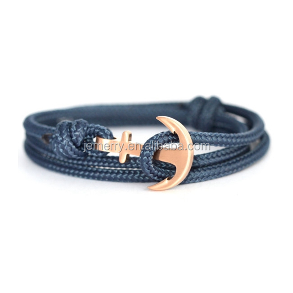 Mens Style Colorful Nylon Ropes Handmade Anchor Charm Bracelet Nautical Jewellery