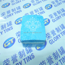 CMYK printed small square tin box for cosmetic packing