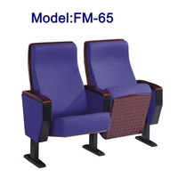 FM-65-1 Fabric padded folding theater chairs with tablet arms
