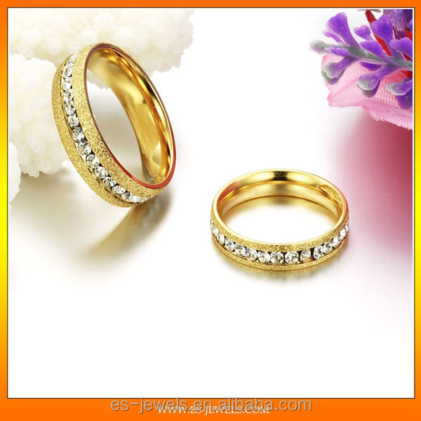 Single row drilling golden pearl sand Titanium steel couple rings