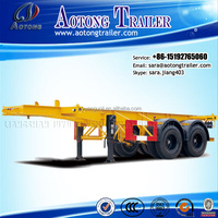 top quality 2 axles skeleton/flatbed cimc type container 20ft truck trailer