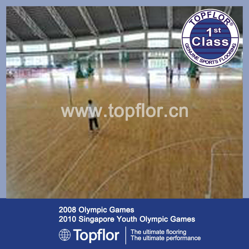 University Basketball Flooring with Wood Like PUR Surface
