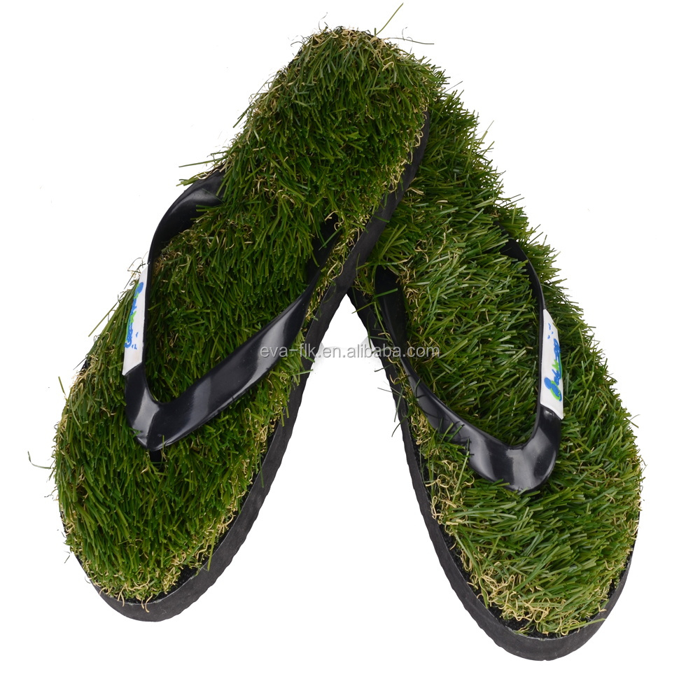 Factory Custom Promotional EVA Foam Massage Grass Flip Flops with Artificial Grass Grass Slippers