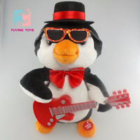Rock musical cool handsome duck plush toys with guitar