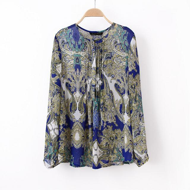 Women Gender New European 2014 Style Batik Printed Shirt