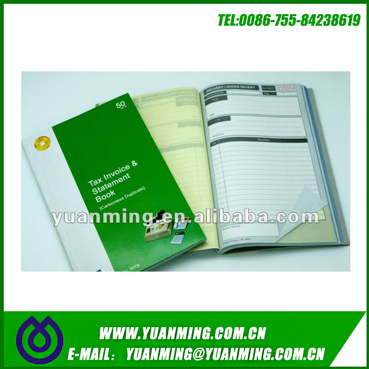 carbonless duplicate hotel invoice book