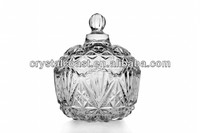 wholesale cheap fancy clear christmas decorative cookie sugar bowl; small empty glass candy jars with glass lids