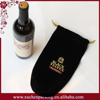Holiday Gift Black Single Bottle Velvet Wine Bag With Embroided Logo