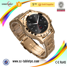 2016 Wholesale Touch screen bluetooth stainless steel wrist gold watch for Android&IOS