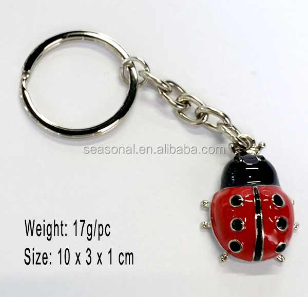Women's Fantastic Painted Crystal Stud Alloy Ladybug Keychains,Fashion Valentine Gifts Keychains