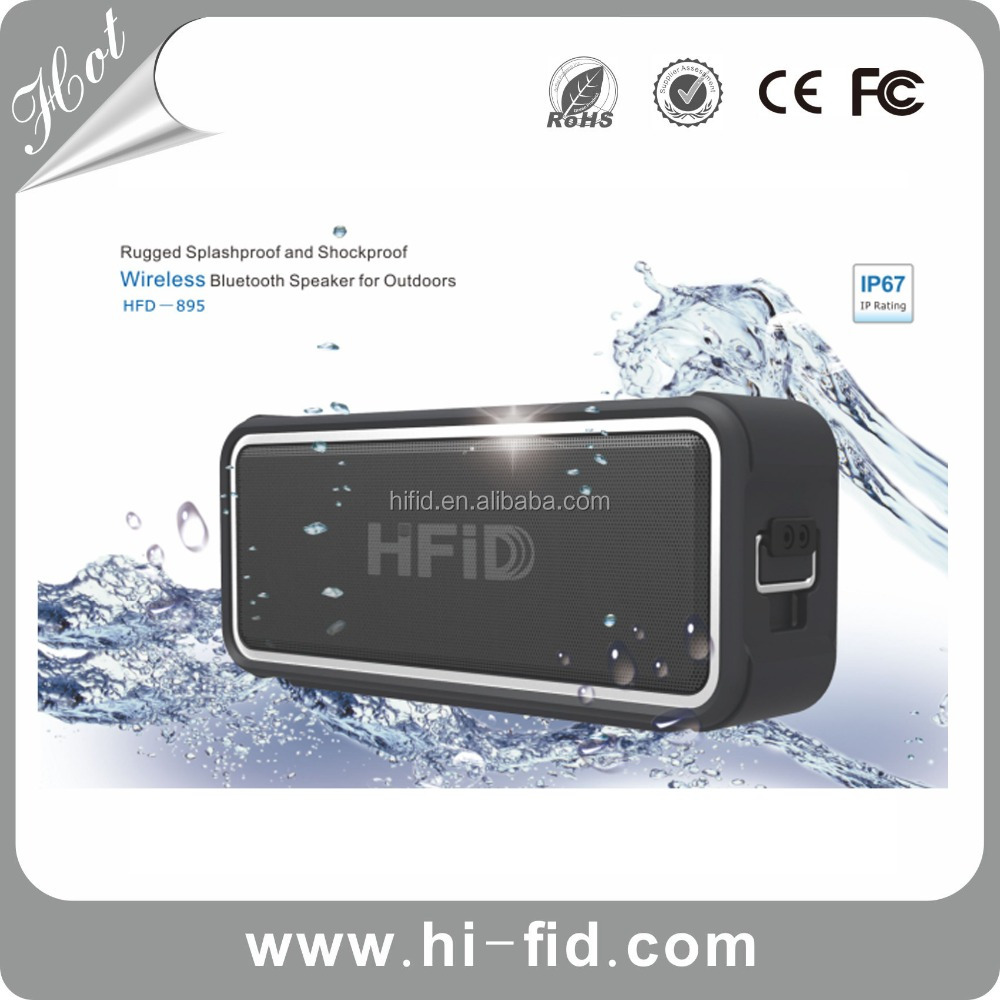 Portable NFC Waterproof Super Bass Bluetooth Wireless Speaker with Power Bank ( Black )