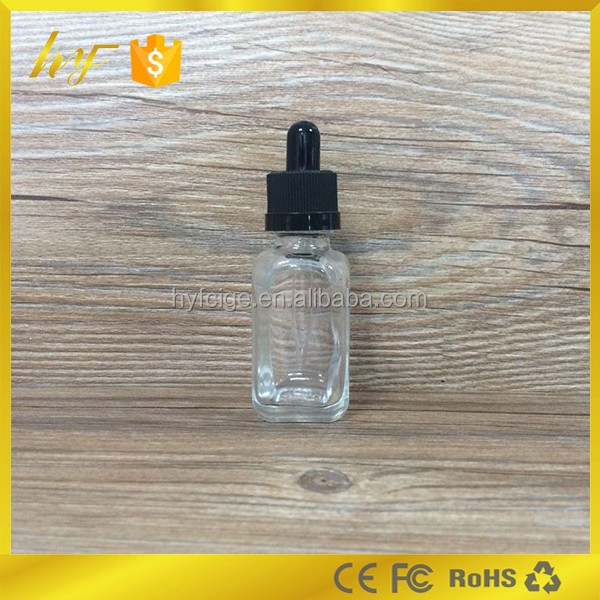 wholesale dropper sealing type 30ml clear French square e liquid glass dropper bottle with childproof cap and rubber topper