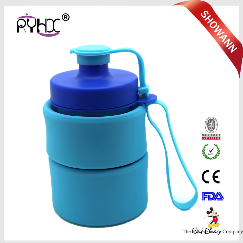 Fashional design travel silicone folded water bottles supplier