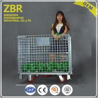 Galvanized Foldable Protective Warehouse Metal Bin Storage Mesh Box Wire Cage