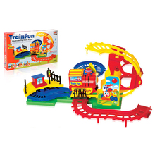 Colorful plastic musical funny puzzle electric toy train sets