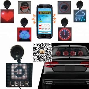 Bluetooth 5X5 INCH RGB 12V Rear Window Suction Cups Scrolling Message Electronics LED Car Display LED Signs