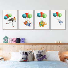 Colorful Balloon Kawaii Hippie Animal Cat Dog Poster Nordic Kids Room Wall Art Print Picture Home Decor Canvas Painting No Frame