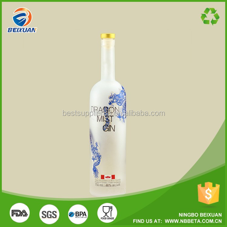 Frosted Vodka Bottle colored Decaling Champagne Glass Wine Bottles 750ML