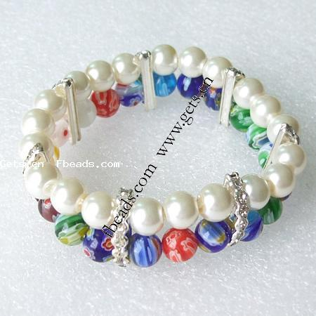 Millefiori Glass Other Shape 2 Layers Silicone Bracelet