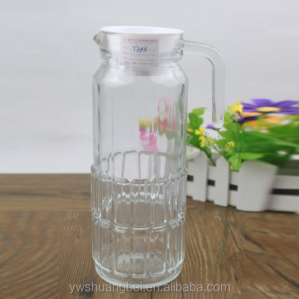 High Transparency Glass Milk Jug Juice Pitcher Wholesale 1 Liter Glass Milk Bottle With Plastic Lid And Handle