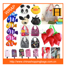 2017 hot sale promotioal or gift folded into various shape pouch nylon or polyester foldable bag