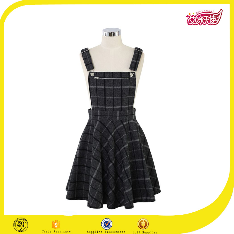 2016 plaid high school uniform designs long jumper dress modern design long dress