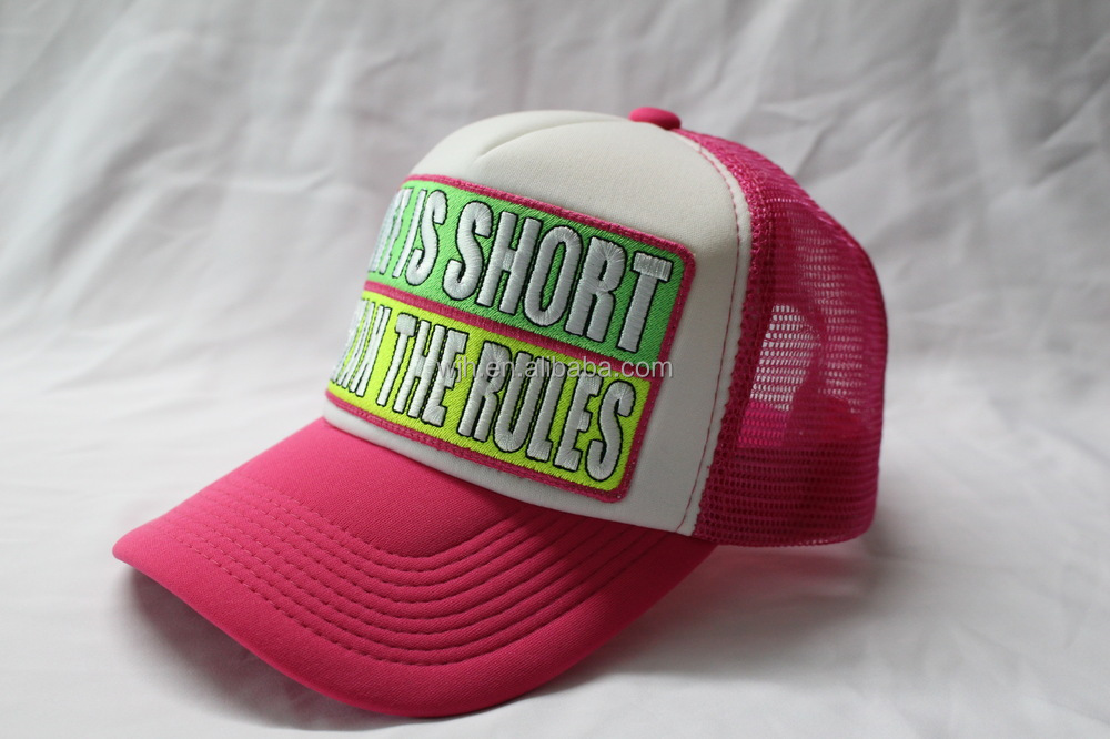 Top popular four color neon trucker cap with embroidery and applique