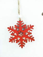 Wooden snowflake christmas design glitter painted