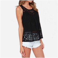 MOON BUNNY Big Size Black Women's Chiffon Blouse Sexy Open Back Crochet Lace Vest Shirt Sleeveless Tops Tess For Women WHOLESALE