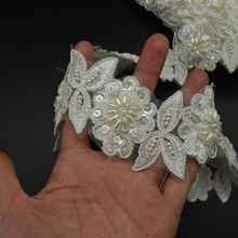 Beaded Embroidered Venise Floral Wedding Edging Bridal Lace Trimming 1.7""