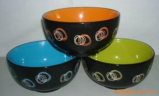5.5'' stamp crockery round stoneware bowl with decoration