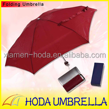 21 inch 6 Ribs Solid Pongee Rain Umbrella 5 Folds in Square Plastic Case