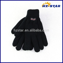 HZS-13245 Full finger wool winter warm thermal lined black gloves