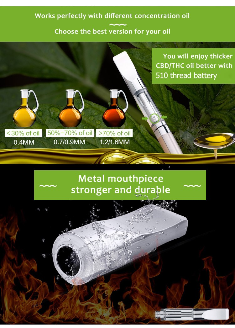 USA Top Seller cbd oil cartridge 510 glass 1.2mm / 1.6mm oil hole for thick oil