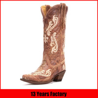 2016 latest design women and ladies leather cowboy boot