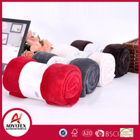 100% polyester cheap solid coral fleece throw blanket