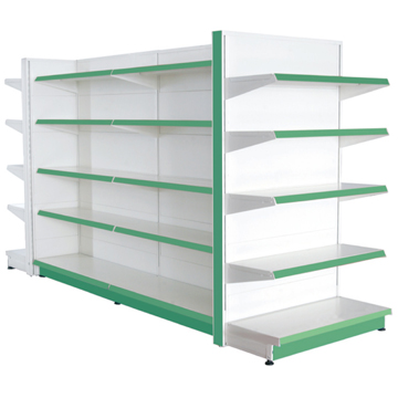 Supermarket shelving of mesh wire back for mini mart shelving system