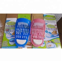 2019 Wholesale funny foot scrubber brush blue slippers massager shower clean easy feet