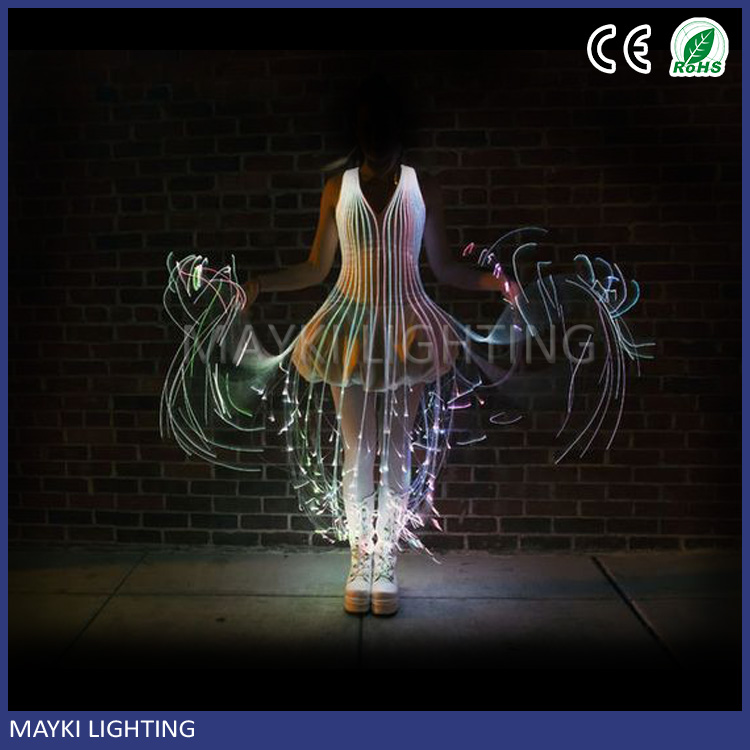 Multi colour DIY birthday chri dress fiber optic lighting with fibre optic tail LED light source remote controller