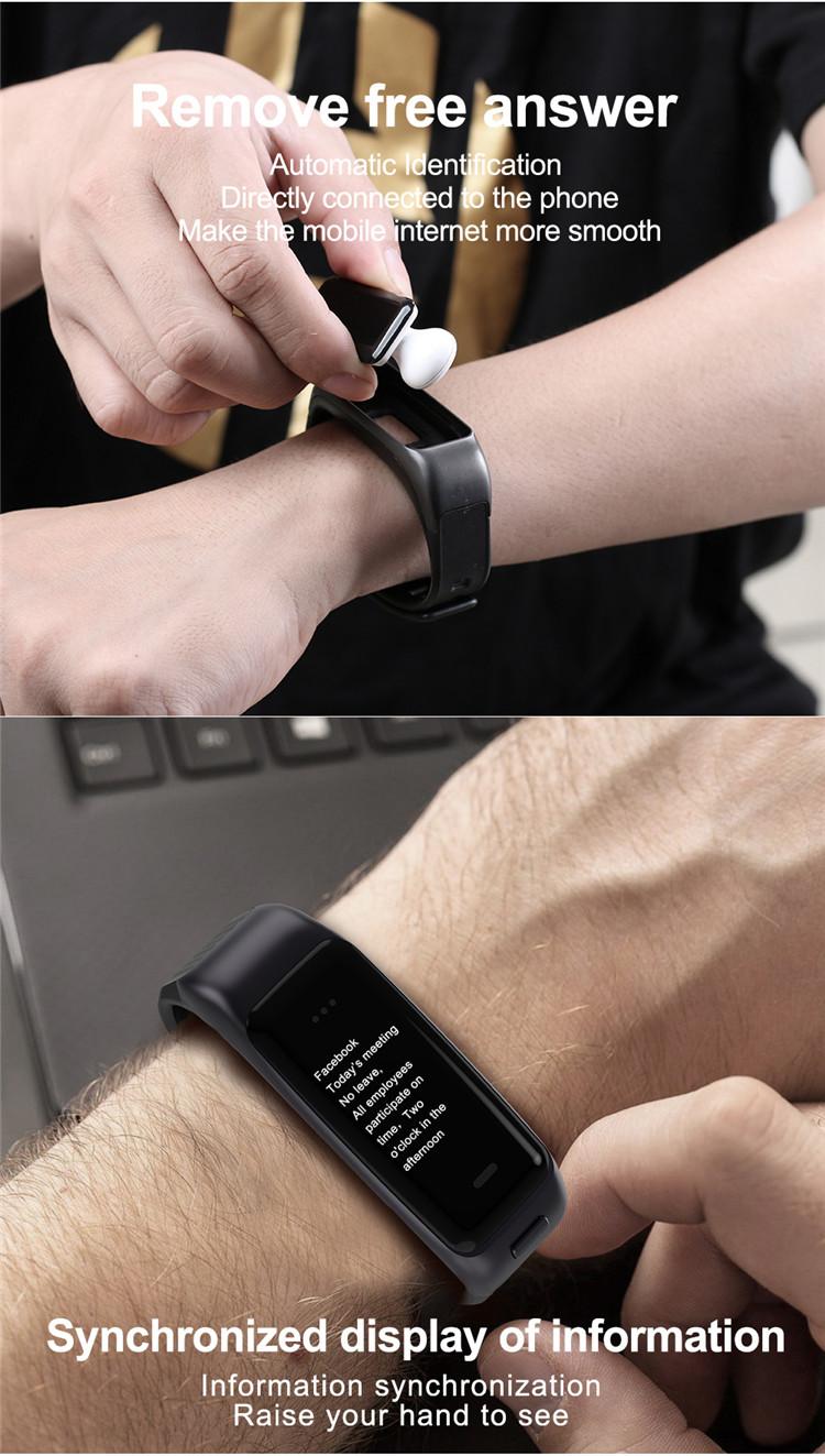 New Product Heart Rate Monitor B03 Mini BT Earphone Smart Bracelet Watch 2 in 1