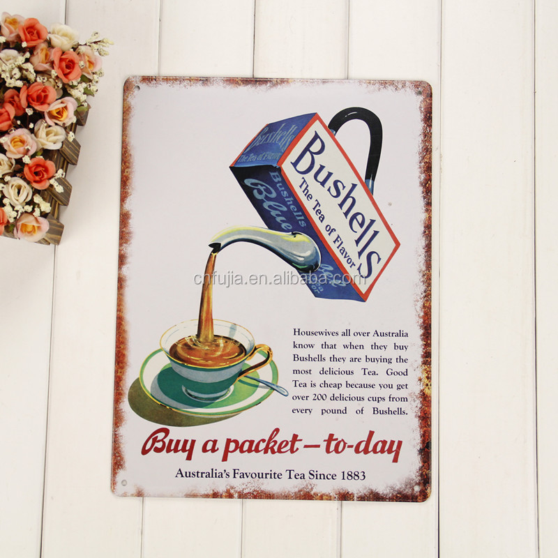 wholesale vintage matte finished 3d metal tin plate sign