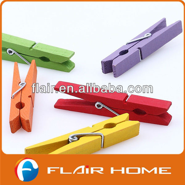 Colourful dyed Birch wooden clothes pegs