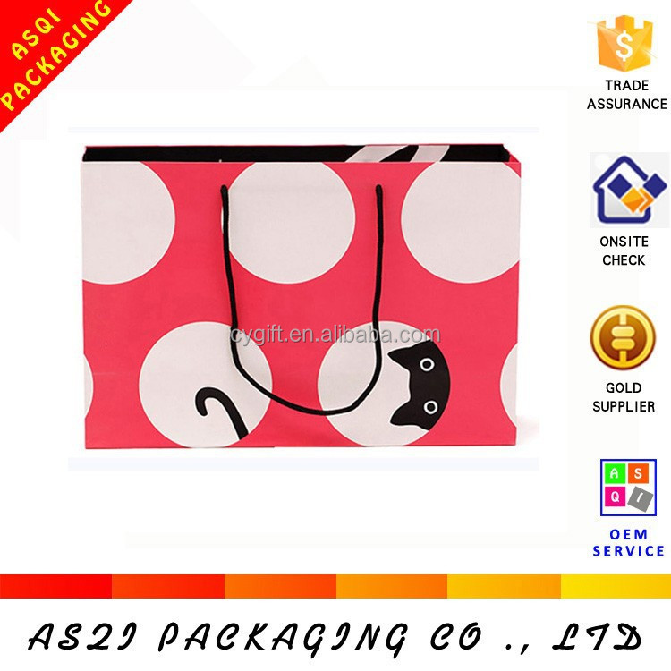 customize big white polka dot shopping paper bag specification